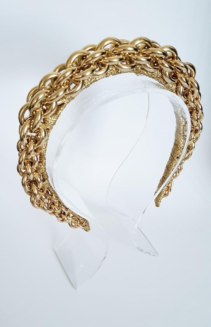Headpiece L A D Y \u2022 H E L E N A \u2022 Gold Crown,Fascinator,Tiara