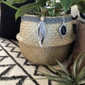 Feather trim belly basket for beachy boho interiors, seagrass, feather, leather