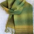 Gradient Scarf, Handwoven, Wool / Acrylic, Long, Green/Bronze