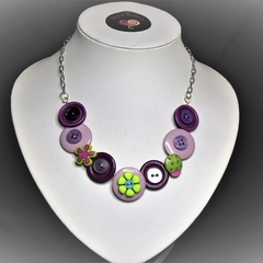 Girl's Purple Button necklace - Purple Flowers.