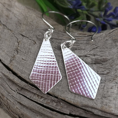RHOMBUS EARRINGS. Upcycled from a Sterling Silver Vintage Spoon.