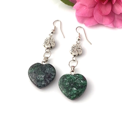2 Choices:  RUBY in ZOISITE and AMETHYST Heart Earrings Sterling Silver Hooks.
