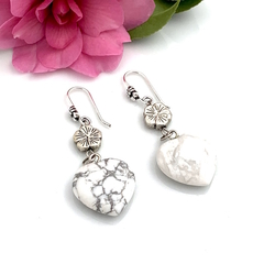 Genuine White HOWLITE Heart & Flower Lovely Earrings.