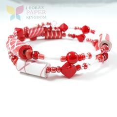 Scarlet Sensation Paper Bead Bracelet
