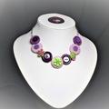 Girl's Purple Button necklace - Purple Flowers.