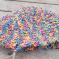 crocheted cloche for child, pure wool. blue, green, orange, yellow and pink