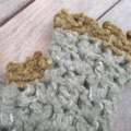 Crocheted fingerless mitts. khaki and olive green, gloves, winter, cold hands