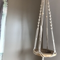 Plant hanger XL, cotton rope, wood beads, cream, earthy, beachy boho vibe