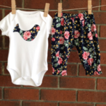 Baby girl navy floral outfit, 3 piece set, choose your size up to 18 months