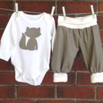 Unisex baby shower gift  fox, CHOOSE SIZE AND BODYSUIT SLEEVE LENGTH