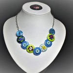 Girl's blue Button necklace - Blue Fishes.