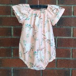 Baby girl romper, pink floral, choose your size, NB to 18m