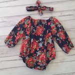 Navy floral play suit and headband with long sleeves in size 6-12 months