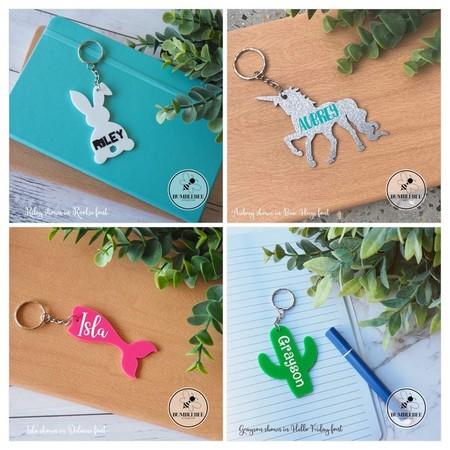 Unicorn Llama Dinosaur Mermaid Bunny Cactus Hummingbird Bag Tag Name