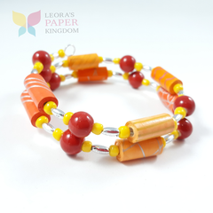 Citrus Splash Paper Bead Bracelet