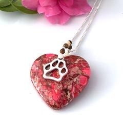 PINK JASPER Dog Paw  Gemstone Pendant & Silver Chain.