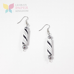 Black White Paper Bead Earrings