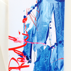 Greeting card, expressive, brushstrokes, modern, bright - Red Line Blues