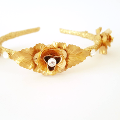 Floral Crown, Bridal, Gold Headpiece, Large Rose Crown