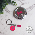 Silver Jewelled Mirror Compact with Pink Enamel Keyring. Mother's Day Gift Pack.