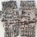 Flecked Brown, Charcoal and White Fingerless Mittens