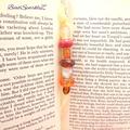 Large Silver/Orange Beaded Bookmark with Ribbon