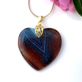 Genuine Dragon Vein's Blue AGATE HEART Pendant & 18k Gold-Plated Snake Chain.