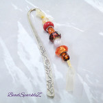 Large Silver/Orange Beaded Bookmark with Ribbon