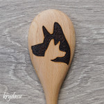 Wood Burnt Dog Wooden Spoon