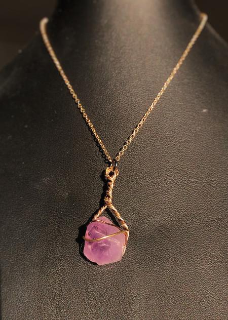 Genuine uncut Amethyst, silver, brass and copper twist pendant