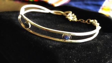 Sterling silver and solid Australian black opal bracelet