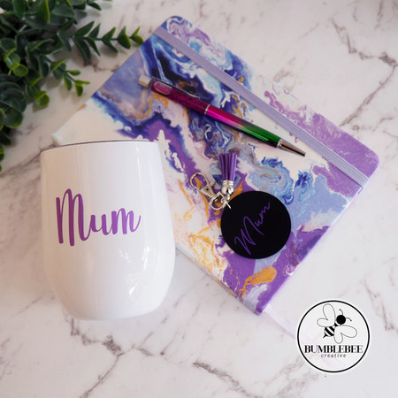 Personalised Mother's Day Gift Pack with Wine Tumbler Notebook *Mother*Mum*Nan*