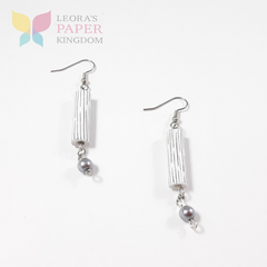 White Paper Bead Earrings