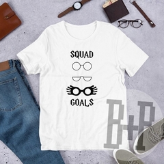 Squad Goals Glasses -White unisex tee (Harry Potter)
