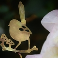 Brass Fairy Wren with Mushrooms Garden Decoration