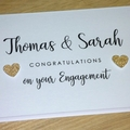 Personalised Engagement Card - gold hearts