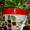 Pots for plants-Mosaic flower pot-sea glass & mirrors