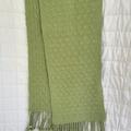 100% Cotton Scarf, Handwoven, Soft, Unisex, Green