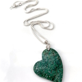 2 Choices: Genuine  AGATE and Fossilised ALGAE HEART  Pendant with Silver Chain.