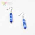 Blue Paper Bead Earrings