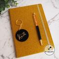 3 Piece Gift Set. Gold & Black. Key ring notebook & pen.  Sparkle! Teacher Gift