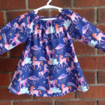 Unicorn dress size 6-12 months, baby long sleeved peasant dress