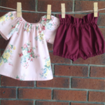 Pink and burgundy outfit sizes to age 3, high waisted shorts and top,choose size