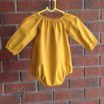 Mustard raglan romper, choose size,sleeve, sizes to aged 2