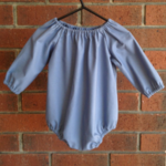 Linen look dusty blue raglan romper, choose size,sleeve, sizes to aged 2