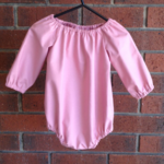 Linen look dusty pink raglan romper, choose size,sleeve, sizes to aged 2