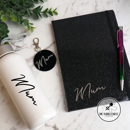 Mum glass drink bottle keyring notebook & pen. Mother's Day Gift Pack. Sparkle