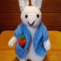 """Peter"" rabbit inspired - Bunny approx 20cm tall - hand knitted soft toy."