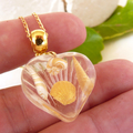 Elegant Small Resin Heart Pendant With Gold /White Polymer Clay Seashells Inside