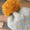 Knitted grey fair isle beanie, mustard hat, grey beanie, beanie, slouchy hat